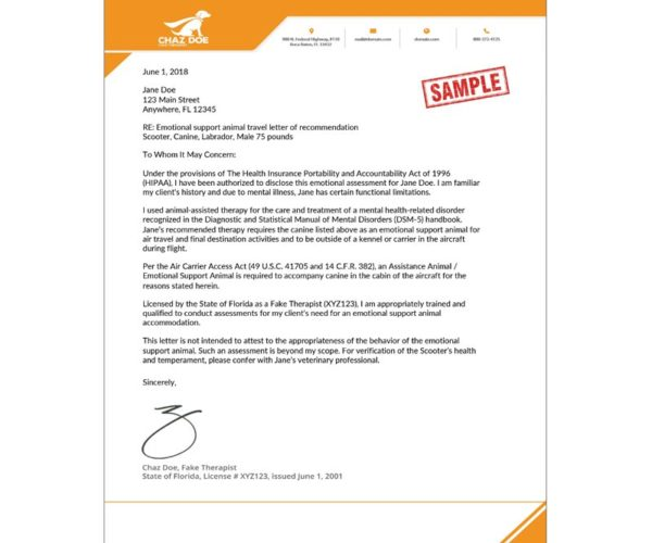 ESA TRAVEL LETTER