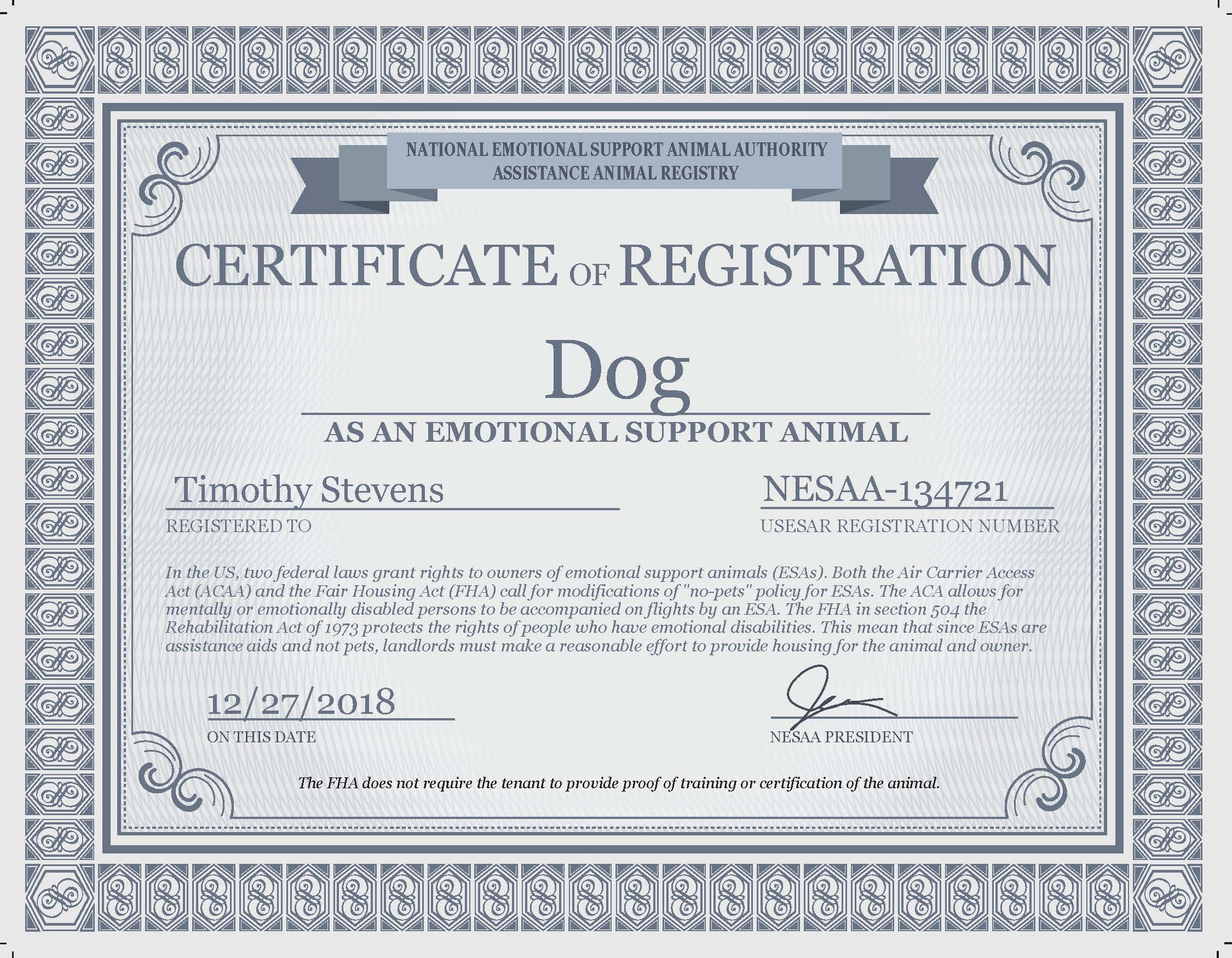 Image of: Elegant Free Emotional Support Animal Certificates Tourespocom Downloads Esad Emotional Support Animal Letter