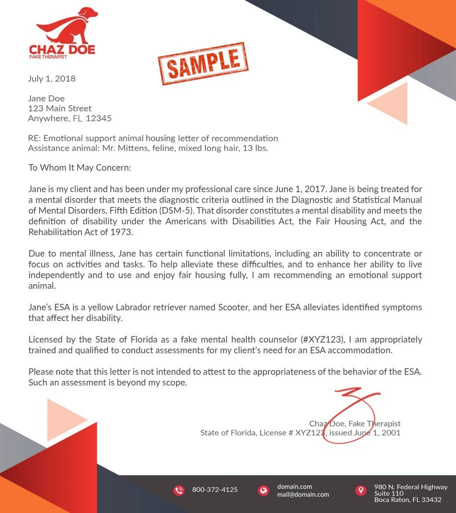 ESA Housing Letter
