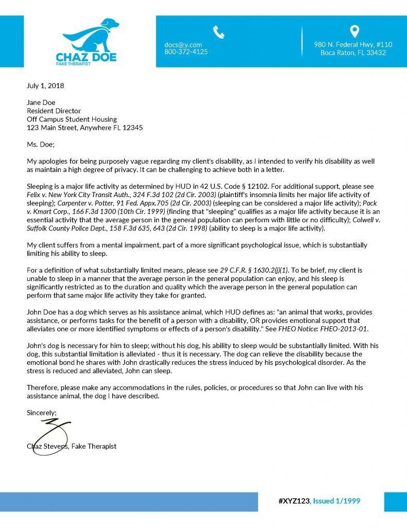 ESA Landlord Rebuttal Letter